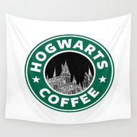 hogwarts Wall Tapestries featuring Hogwarts Coffee by Beautiful Bibliophile's Boutique