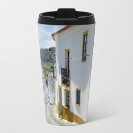 Narrow cobbled Alentejo street in Portugal Travel Mug