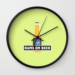 Runs on Beer T-Shirt for all Ages D7ta2 Wall Clock