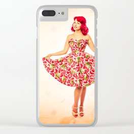 """Check Out These Melons"" - The Playful Pinup - Girl in Watermelon Dress by Maxwell H. Johnson Clear iPhone Case"
