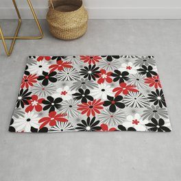 Funky Flowers in Red, Gray, Black and White Rug