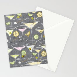 Shaken Not Stirred - Hand-Drawn Martinis - Gray Background w- Texture Stationery Cards
