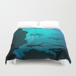 Beautiful coral reef and silhouettes of diver and school of fish in a blue sea Duvet Cover