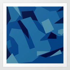 Peckham Blue Abstract Map Art Print