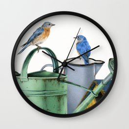 Bluebirds At The Potting Shed Wall Clock