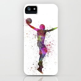 young man basketball player dunking iPhone Case
