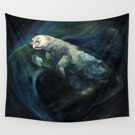 Polar Bear Swimming in Northern Lights Wall Tapestry