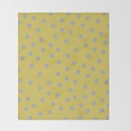 Simply Dots Retro Gray on Mod Yellow Throw Blanket