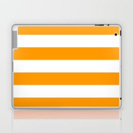 Bright Mango Mojito and White Wide Horizontal Cabana Tent Stripe Laptop & iPad Skin