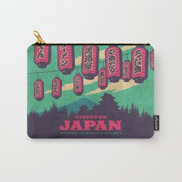 Japan Travel Tourism with Japanese Castle, Mt Fuji, Lanterns Retro Vintage - Green Carry-All Pouch