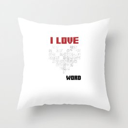 I Love Crossword Puzzle Puzzlers Geek Numbered Squares Thinking Gift Throw Pillow