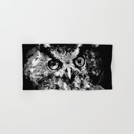 owl perfect black white Hand & Bath Towel