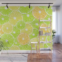 Lemon, orange and lime slices pattern design Wall Mural