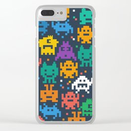 Pixelated monster pattern Clear iPhone Case