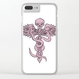 Skull and Spinal Column With Snakes Drawing Clear iPhone Case
