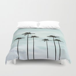Palm Tree   Landscape Photography   Sunset Clouds   Blue Sky   Minimalism Duvet Cover