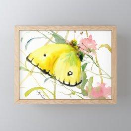 Soft Yellow Butterfly and Pink Flower, pink turquoise lemon yellow girls room art, design Framed Mini Art Print