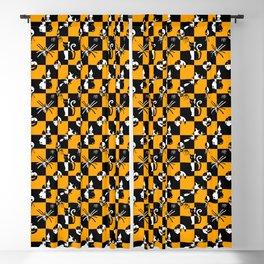 Black Orange & White Vintage Halloween Disco Check Blackout Curtain