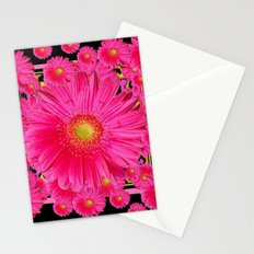 Black & Pink Gerbera Flowers Grey Patterns Art Stationery Cards
