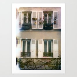 Window gardens and bicycles Art Print