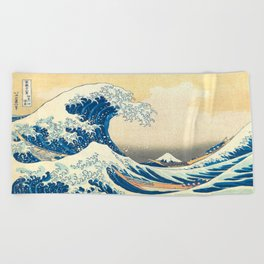 Japanese Woodblock Print The Great Wave of Kanagawa by Katsushika Hokusai Beach Towel