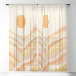 Golden Mountain Sunset Sheer Curtain