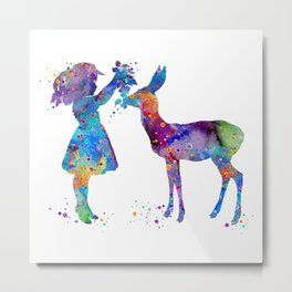 Girl and Doe Art Animals Lover Gift Colorful Blue Purple Artwork Kids Room Decor Metal Print