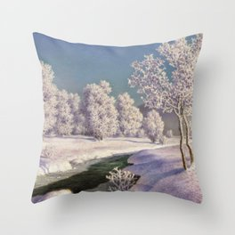 Winter Morning, After New Snow, Along the Emerald Stream by Ivan Fedorovich Choultsé Throw Pillow