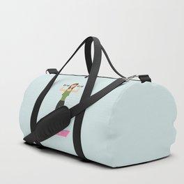 Fitness Girl Lifting Weights Cartoon Illustration Duffle Bag