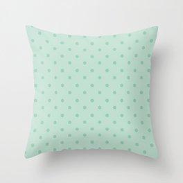 Geometric mint green modern polka dots pattern Throw Pillow