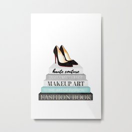 Shoes, Red sole,Books, Fashion books, Gray, Teal, Fashion, Fashion art, fashion poster, fashion wall Metal Print