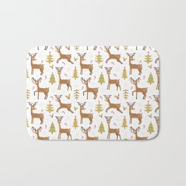 Pastel green brown cute Christmas deer festive pattern Bath Mat
