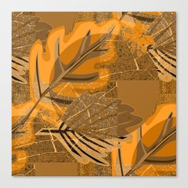 Orange and brown leaves and geometric shapes. Grunge Canvas Print