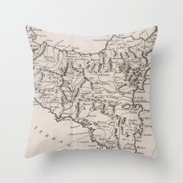 Vintage Map of Sicily Italy (1764) Throw Pillow