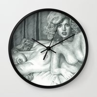 lindsay lohan Wall Clocks featuring Lindsay Lohan and Marilyn Monroe's PLAYBOY together by Jimmy Lee