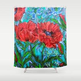 Poppies in the Garden Shower Curtain