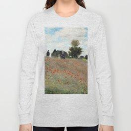 1873-Claude monet-Poppy Field-50 x 65 Long Sleeve T-shirt