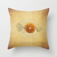 candy Throw Pillows featuring candy  by Steffi Louis