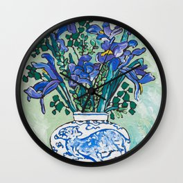 Iris Bouquet in Blue and White Asian Tiger Jar on Green and Coral Wall Clock