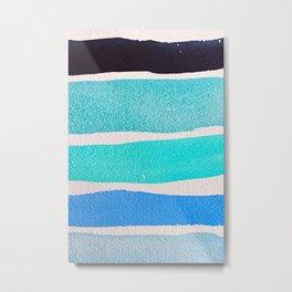 Bright Blue Sea Ribbons Metal Print