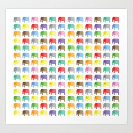 colored elephants pattern Art Print