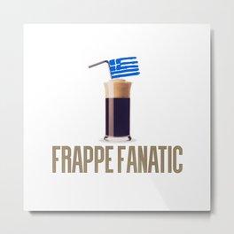 Frappe Fanatic Greek Flag Coffee T-Shirt Metal Print