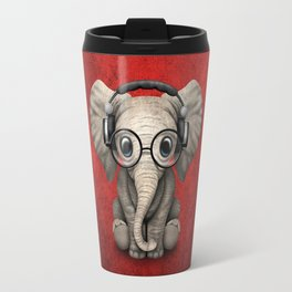 Cute Baby Elephant Dj Wearing Headphones and Glasses on Red Travel Mug