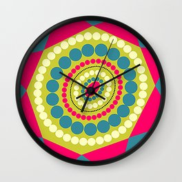 Abstract Geometric Circles and Triangles Floral Illustration Wall Clock