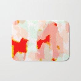 Veronica - Red & blush abstract art Bath Mat