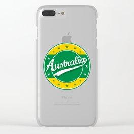 Australia, circle, green yellow Clear iPhone Case