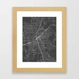 Huntsville Map, Alabama USA - Charcoal Portrait Framed Art Print