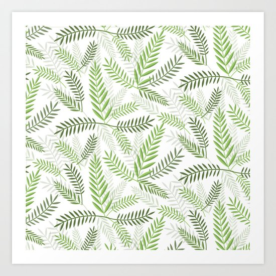 GREEN LEAVES ON WHITE Art Print