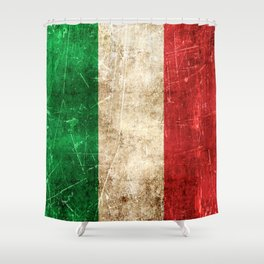 Vintage Aged and Scratched Italian Flag Shower Curtain