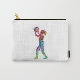 Girl Basketball Player Colorful Watercolor Sports Art Kid Basketball Carry-All Pouch